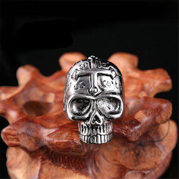 Titanium Steel Fashion Cross Skull Letter Ring Men - GRAY US SIZE 10