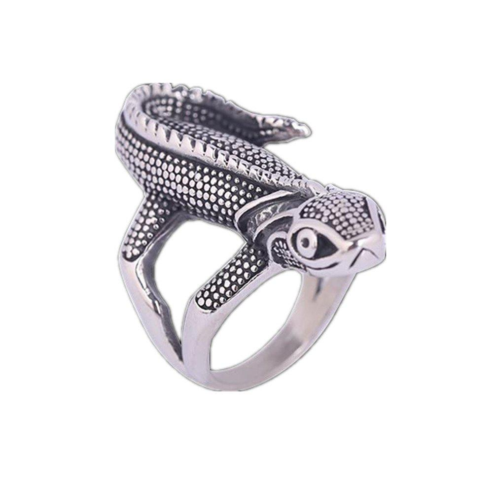Titanium Steel Animal Animal Lizard Ring Hommes - Gris US SIZE 10