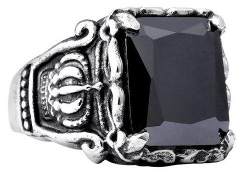 Titanium Steel Fashion Personality Crown Black Red Gemstone Ring Woman Men - BLACK US SIZE 8