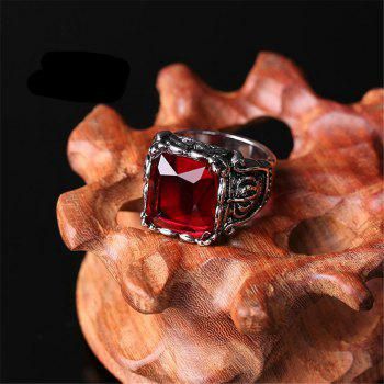 Titanium Steel Fashion Personality Crown Black Red Gemstone Ring Woman Men - RED US SIZE 8