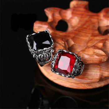 Titanium Steel Fashion Personality Crown Black Red Gemstone Ring Woman Men - RED US SIZE 9