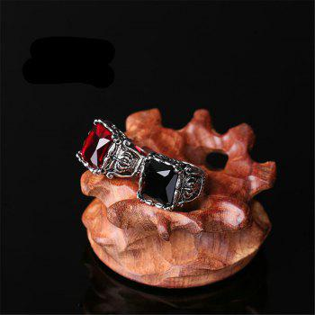 Titanium Steel Fashion Personality Crown Black Red Gemstone Ring Woman Men - BLACK US SIZE 9