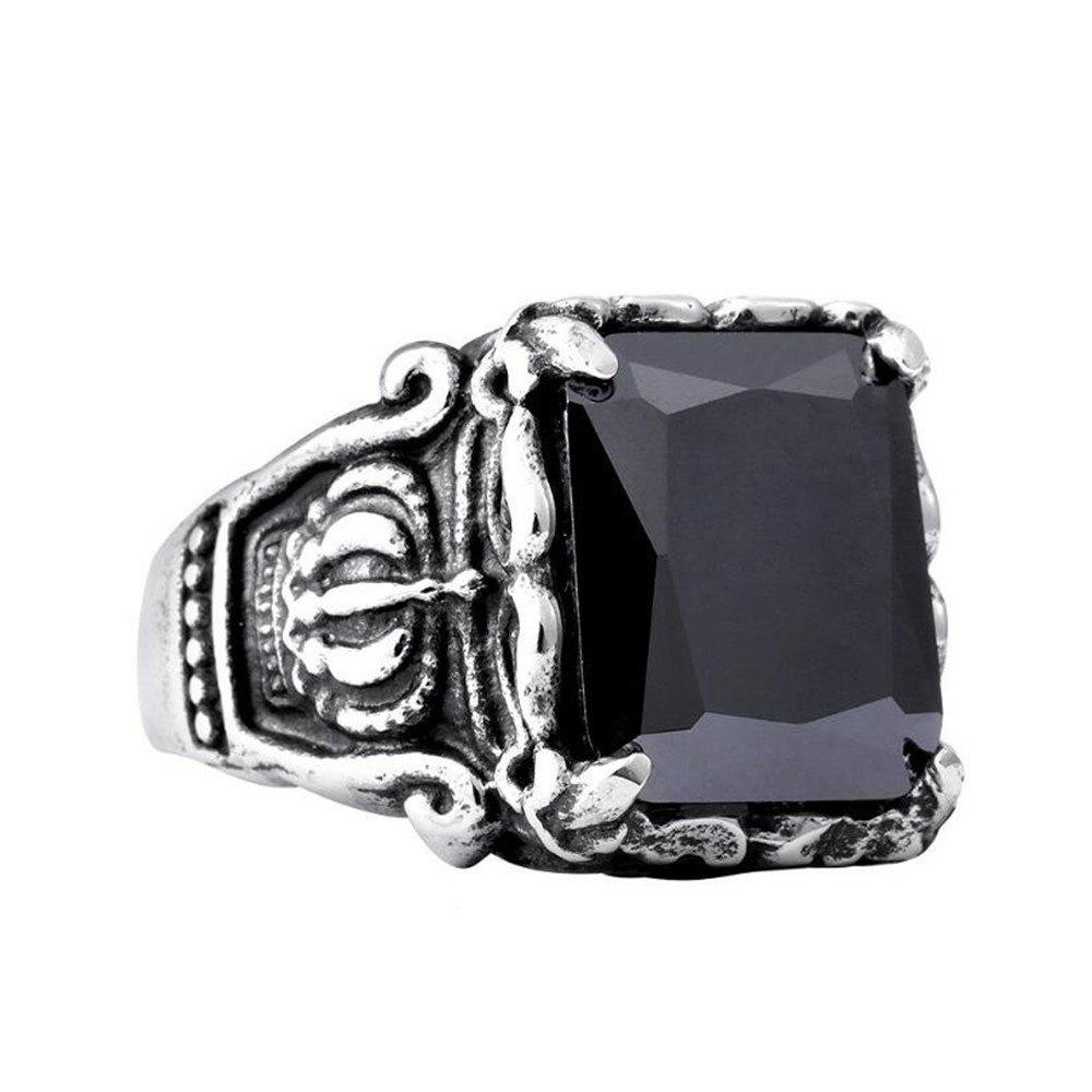 Titanium Steel Fashion Personality Crown Black Red Gemstone Ring Woman Men - BLACK US SIZE 10