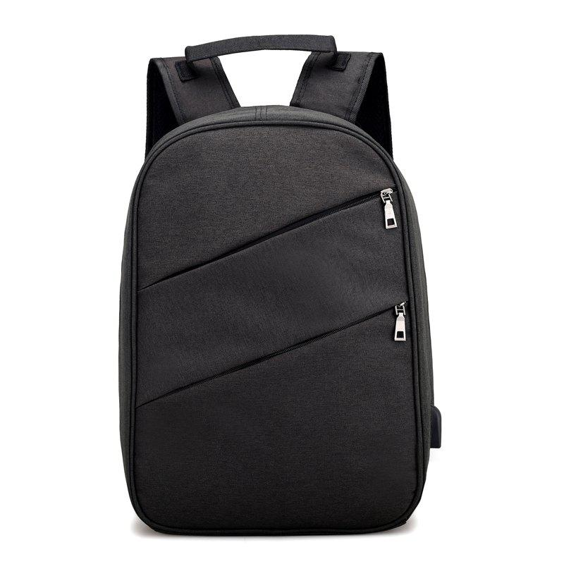 Nylon Men'S Backpack  Student Bag - BLACK VERTICAL