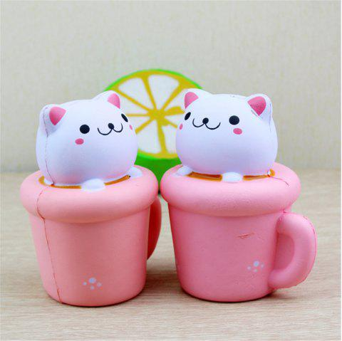 PU Slow Rebound Toy Simulation Jumbo Squishy Cup Cat Soft Aroma Modeling Children Toys 1PC - PINK