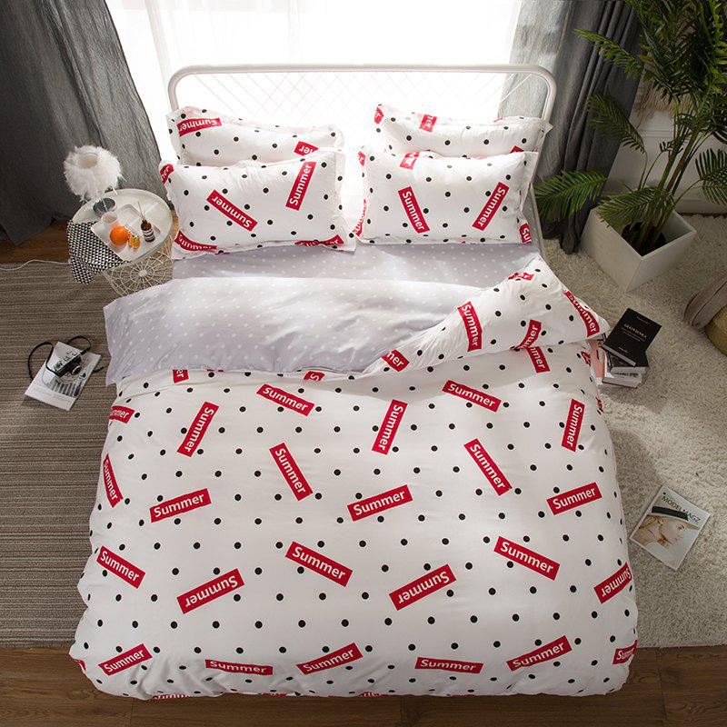 South Cloud 4 Pcs Bedding Set Modern Creative Dots Pattern Letters Print Soft Cozy Sheet Sets - WHITE KING