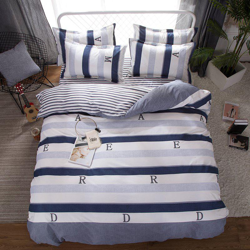 South Cloud 4 Pcs Bedding Set Modern Letter Print Color Block Striped Soft Cozy Sheet Set - BLUE GRAY QUEEN