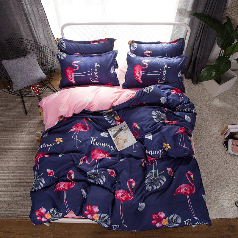 South Cloud 4 Pcs Bedclothes Set Beautiful Flamingo Pattern Soft Bed Sheet Set - PLUM PURPLE QUEEN