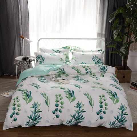 South Cloud 4 Pcs Bedclothes Set Fresh Style Leaves Pattern Soft Bed Sheet Set - LIGHT CYAN QUEEN