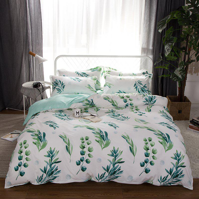 South Cloud 4 Pcs Bedclothes Set Fresh Style Leaves Pattern Soft Bed Sheet Set - LIGHT CYAN EURO KING