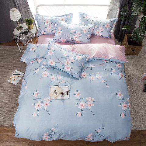 South Cloud 4 Pcs Bedclothes Fresh Flower Pattern Soft Bed Sheet Set - SKY BLUE QUEEN