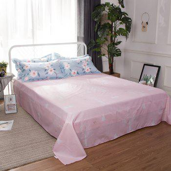 South Cloud 4 Pcs Bedclothes Fresh Flower Pattern Ensemble de draps souples - Azur EURO KING