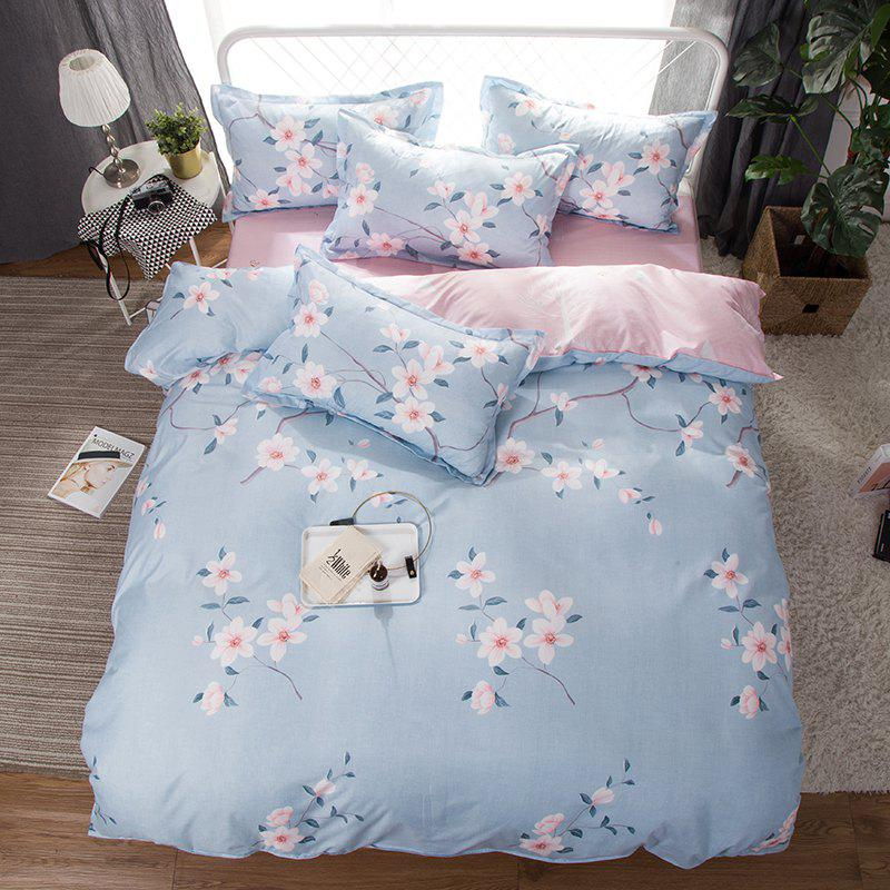 South Cloud 4 Pcs Bedclothes Fresh Flower Pattern Soft Bed Sheet Set - SKY BLUE FULL