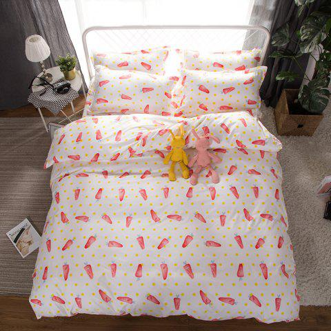 South Cloud 4 Pcs Bedsheet Set Lovely Style Cartoon Carrot Pattern Comfy Bedding Sets - multicolor TWIN