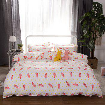 South Cloud 4 Pcs Bedsheet Set Lovely Style Cartoon Carrot Pattern Comfy Bedding Sets - multicolor FULL