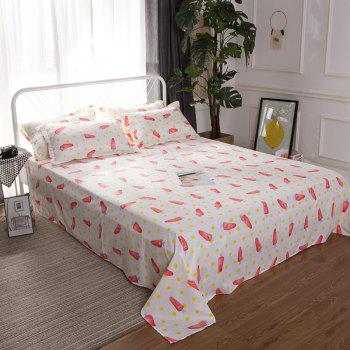 South Cloud 4 Pcs Bedsheet Set Lovely Style Cartoon Carrot Pattern Comfy Bedding Sets - multicolor EURO KING