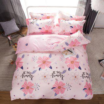 South Cloud 4 Pcs Bedsheet Set Sweet Style Flower Pattern Comfy Bedding Sets - PINK KING
