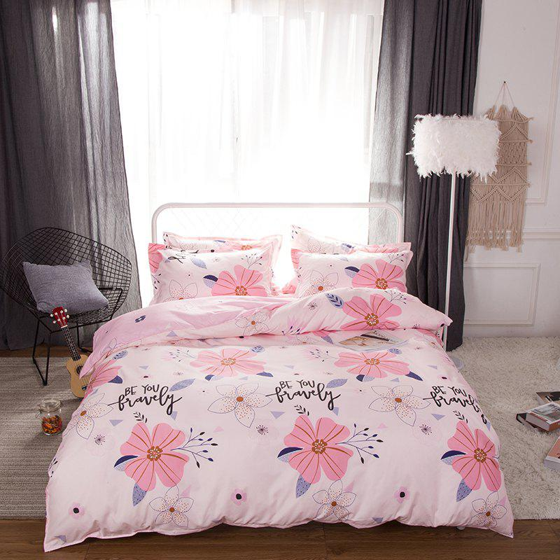South Cloud 4 Pcs Bedsheet Set Sweet Style Flower Pattern Comfy Bedding Sets - PINK EURO KING