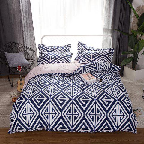 South Cloud 4 Pcs Bedclothes Set Modern Creative Geometric Pattern Soft Bed Sheet Sets - NAVY BLUE QUEEN