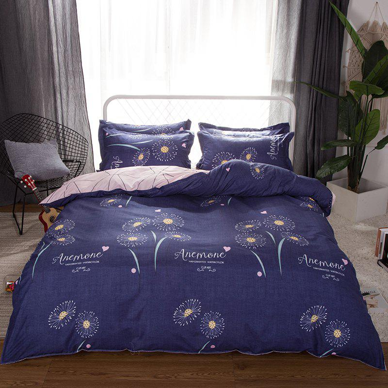 South Cloud 4 Pcs Duvet Cover Set Modern Creative Flower Pattern Comfy Sheet Sets - OCEAN BLUE TWIN