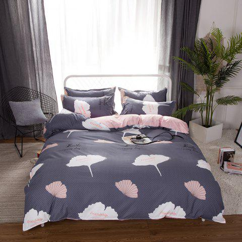 South Cloud 4 Pcs Duvet Cover Set Ginkgo Leaves Pattern Comfy Ductile Bedding Sets - SMOKEY GRAY KING