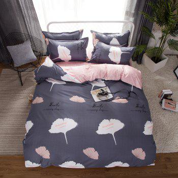 South Cloud 4 Pcs Duvet Cover Set Ginkgo Leaves Pattern Comfy Ductile Bedding Sets - SMOKEY GRAY EURO KING