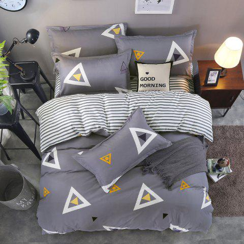 South Cloud 4 Pcs Bedding Cover Set Simple Solid Geometric Pattern Ductile Bedsheet Sets - SMOKEY GRAY EURO KING