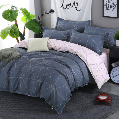 South Cloud 4 Pcs Bedding Cover Set Simple Solid Geometric Pattern - MARBLE BLUE EURO KING