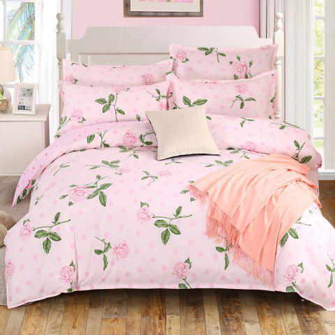South Cloud 4 Pcs Bedclothes Set Charming Life Flowers Themed Comfy Bedsheet Sets - PINK QUEEN