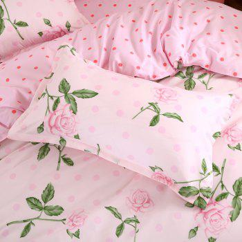 South Cloud 4 Pcs Bedclothes Set Charming Life Flowers Themed Comfy Bedsheet Sets - PINK TWIN