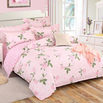 South Cloud 4 Pcs Bedclothes Set Charming Life Flowers Themed Comfy Bedsheet Sets - PINK EURO KING