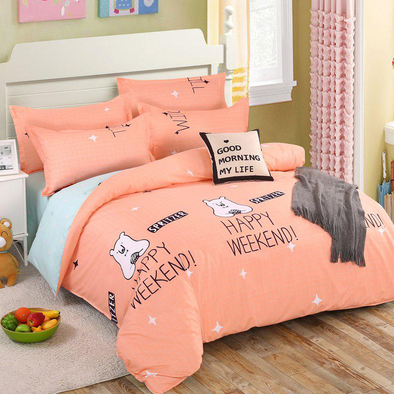 South Cloud 4 Pcs Bedclothes Cartoon Lovely Bear Themed Home Soft Bedsheet Set - ORANGE EURO KING