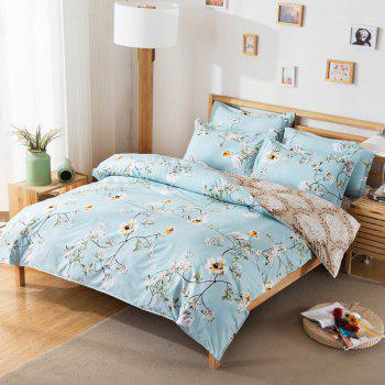 South Cloud 4 Pcs Bedding Cover Set Fresh Modern Floral Themed Voguish Bedsheet Sets - GREENISH BLUE FULL