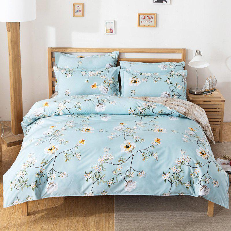 South Cloud 4 Pcs Bedding Cover Set Fresh Modern Floral Themed Voguish Bedsheet Sets - GREENISH BLUE KING