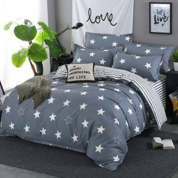 South Cloud 4PCS Bedding Cover Stars Simple Soft Bedsheet Set - ASH GRAY FULL
