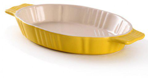 Oval Ceramic Binaural Baking Plate - RUBBER DUCKY YELLOW