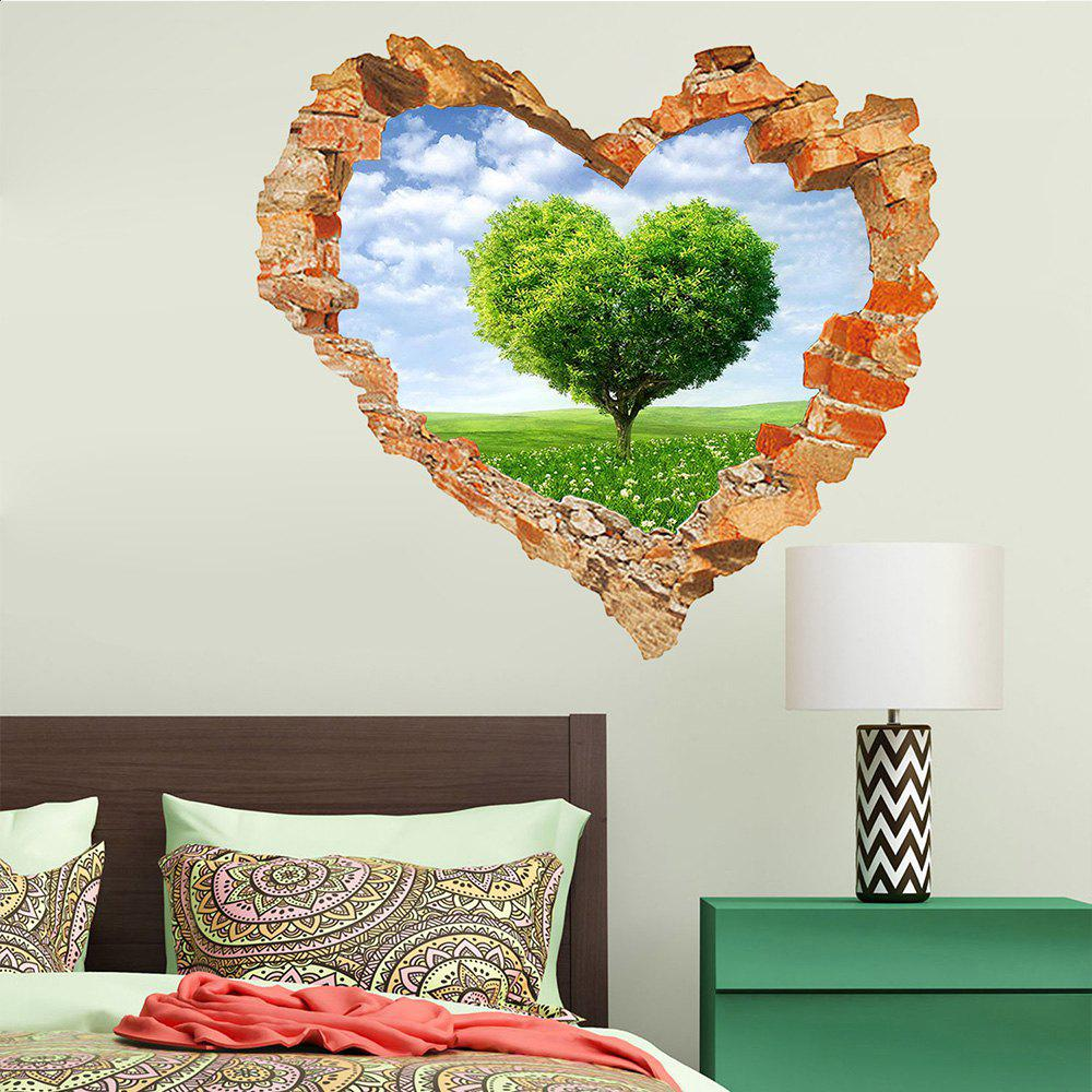 Sticker mural 3D Sky Ground Building Belle décoration de paysage XQ040127 - [