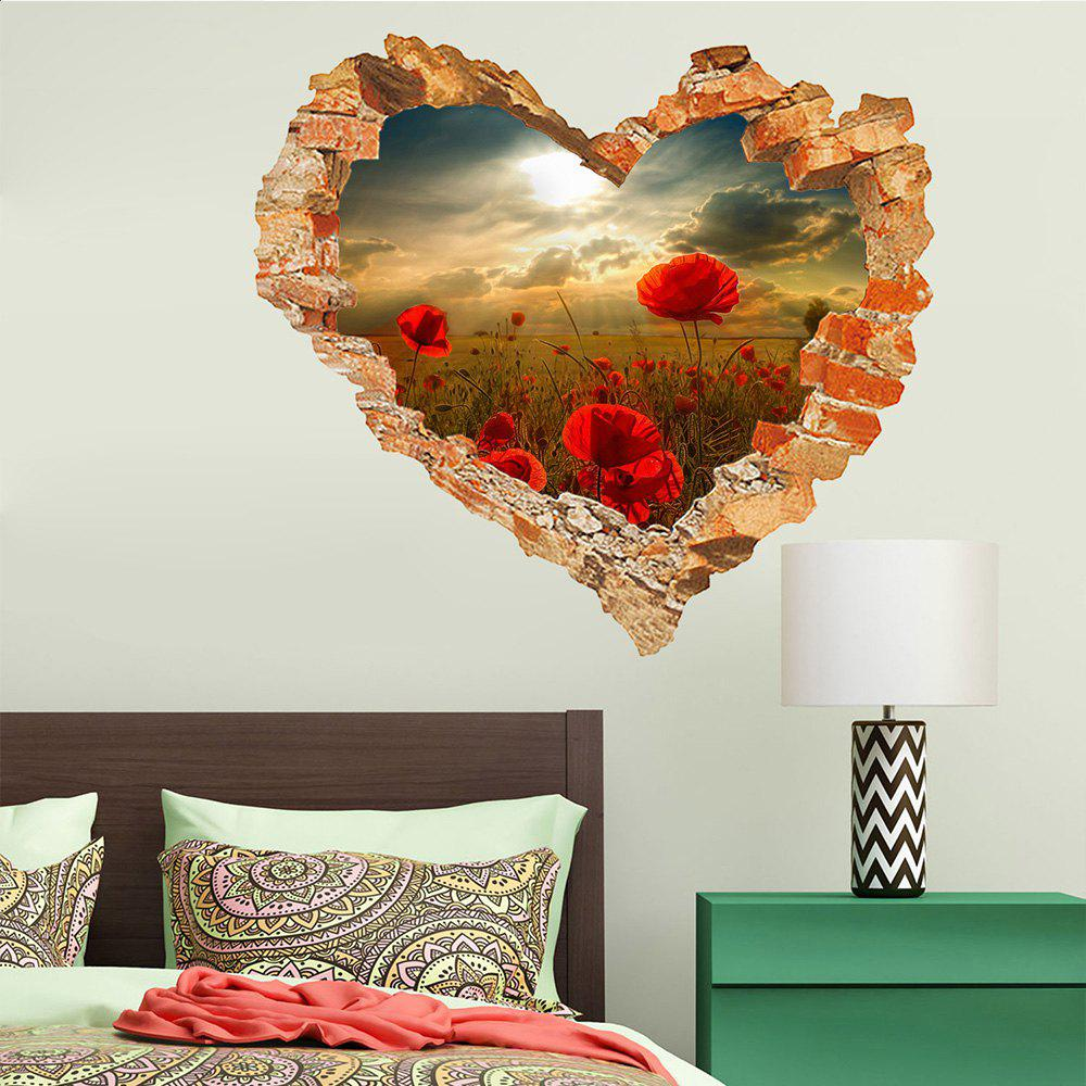 Sticker mural 3D Sky Ground Building Belle décoration de paysage XQ040128 - [