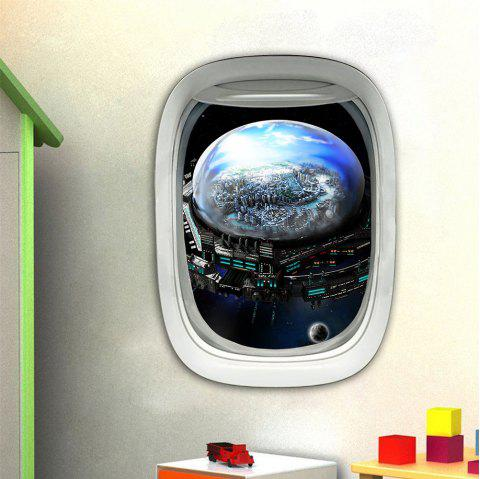 3D Wall Sticker Sky Ground Building Beautiful Landscape Decoration XQ030014 - multicolor 1PC