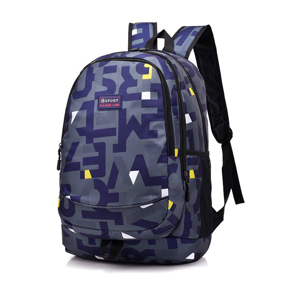 Shoulder Bag Middle School Schoolbag College Wind Computer Backpack Hit Color Pack - DENIM DARK BLUE