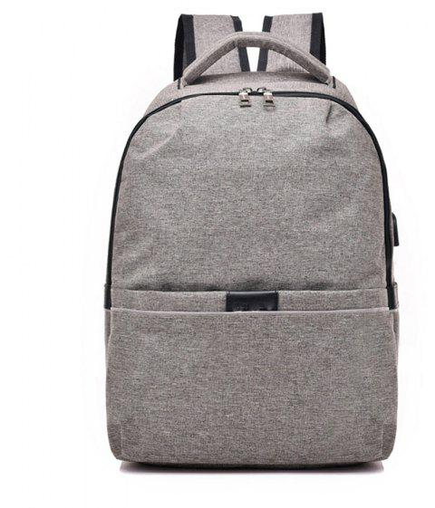 Multifunctional Shoulder USB Large Capacity Computer Student Bag - GRAY