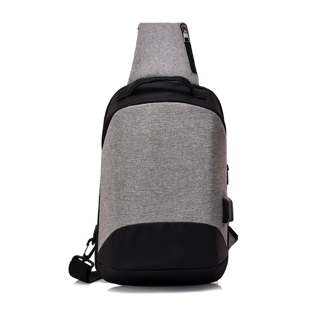 Anti-Theft Chest USB Charging Korean Shoulder Messenger Bag - GRAY