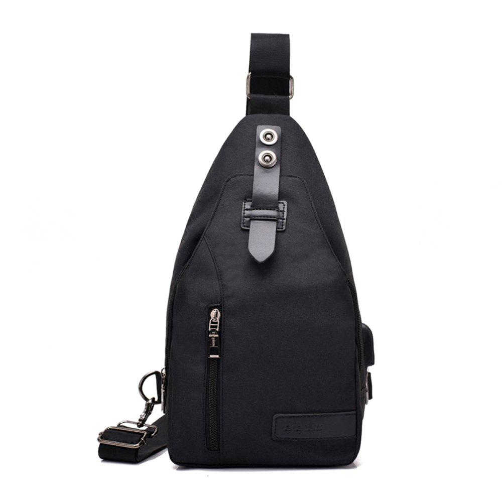 Youth Shoulder Chest Student Messenger Simple Sports Backpack - BLACK