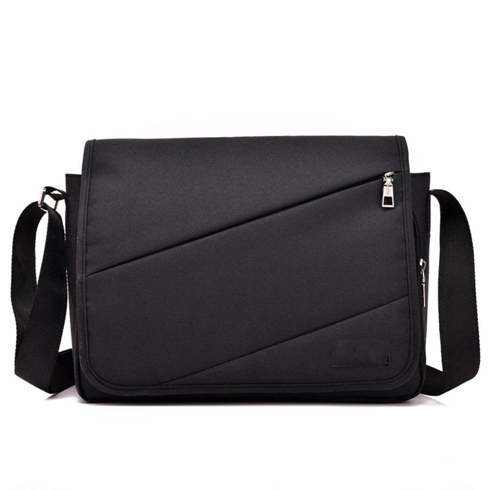 Messenger Canvas Cross Section Large Capacity Computer Bag - BLACK