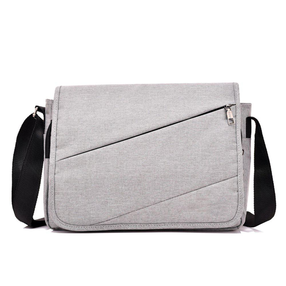 Messenger Canvas Cross Section Large Capacity Computer Bag - GRAY GOOSE