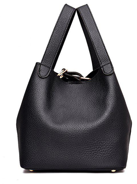Litchi Pattern Solid Color Mosaic Bucket Shoulder Handbag - BLACK