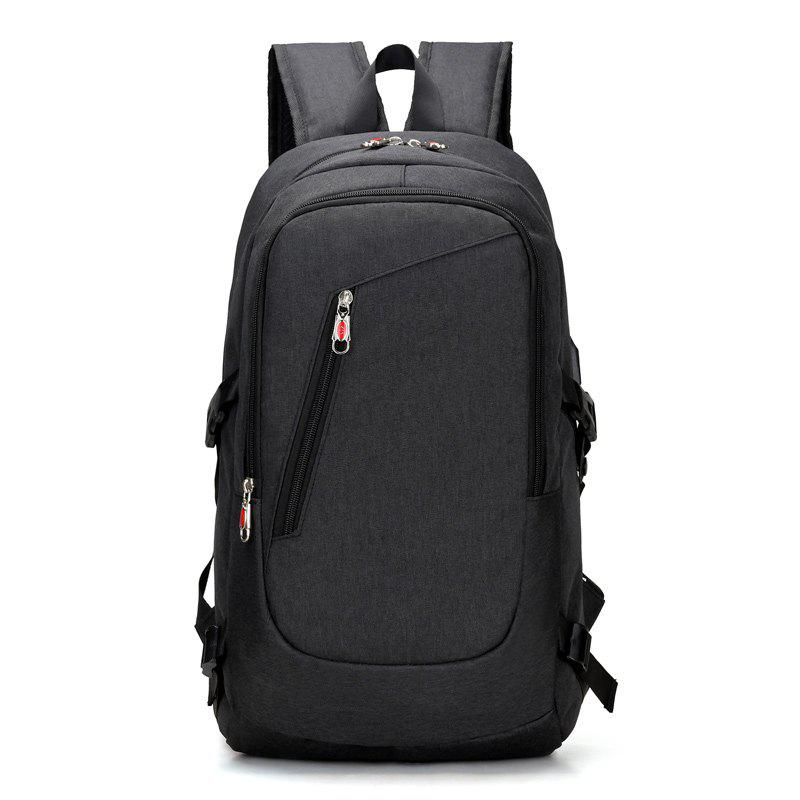USB Rechargeable Backpack Computer  Student Bag - BLACK