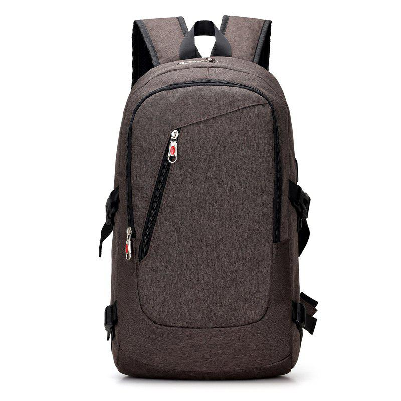 USB Rechargeable Backpack Computer  Student Bag - COFFEE