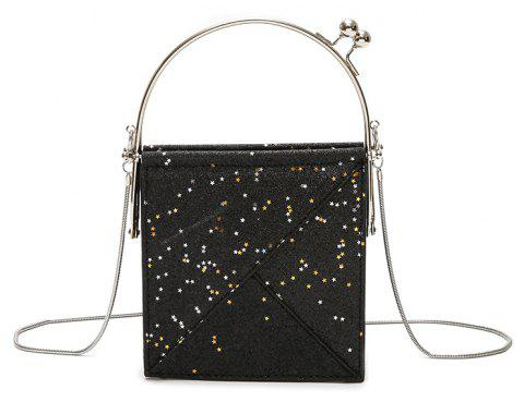 Sequins Hand Shoulder Crossed Chains Small Party Bag - BLACK