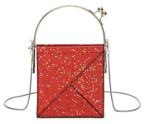 Sequins Hand Shoulder Crossed Chains Small Party Bag - RED